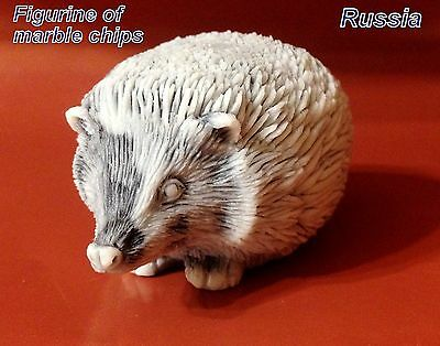 Hedgehog figurine marble chips Souvenirs from Russia miniature for collection
