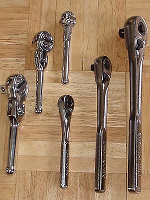 "NEW 6pc Ratchet Set, 3 Craftsman + 3 Thin Profile Flex Stubby 1/4"" 3/8"" 1/2"""