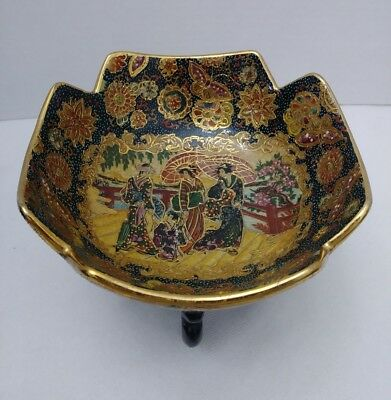 """Decorative Embossed Bowl w/ Riser Made in China """"Satsuma Style"""" Geishas Floral"""