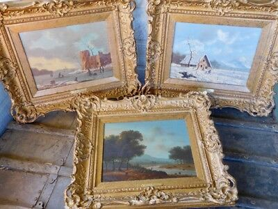 Three Original Richard Peterson Gallery Painting on Wood Panels Antique Frames