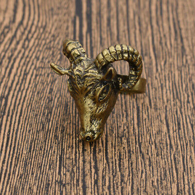3D Goat Head Face Shaped Ring Retro Punk Fashion Jewelry Bronze Gift Vintage