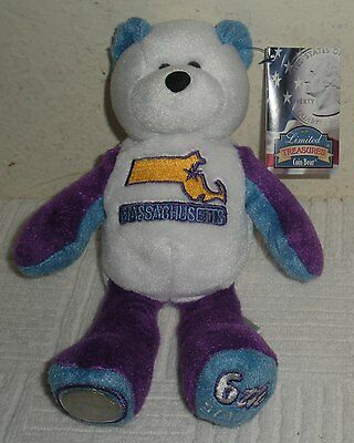 "New w/ Tags Limited Treasures 8"" Plush Beanbag STATE COIN BEAR, MASSACHUSETTS"
