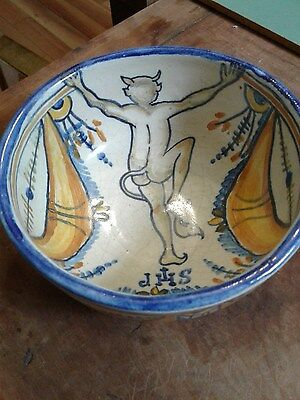Antique VIntage TALAVERA NIVEIRO Spain Maiolica  Hand Painted Devil Mocking