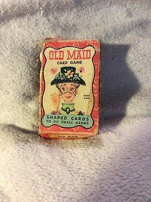VINTAGE Warren Paper OLD MAID Shaped Kids CARD GAME with Original Box *FREE SHIP