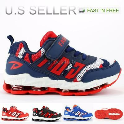 Kids Boy Tennis Sneakers Shoes Walking Running Casual Mesh Upper Strap Lace-Up