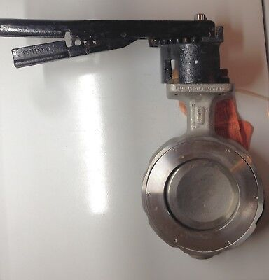 """4"""" Crane Flowseal Wafer Butterfly Valve/ Locking Handle/ 720 Psi/ Stainless"""