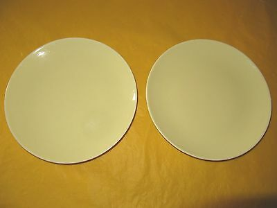 """2 VINTAGE BRANKSOME YELLOW SIDE PLATES dia 6.25"""" tiny firing marks, used in VGC"""
