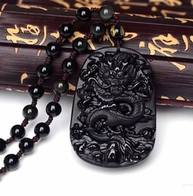 100% NATURAL OBSIDIAN CRYSTAL PENDANT CARVING Dragon pendant hot