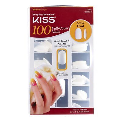 Kiss 100 Nails Active Oval 100PS13 - glue on nails oval shaped
