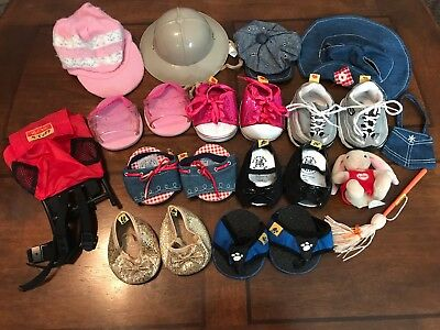 Build A Bear Workshop Lot 7 Pairs Shoes 4 Hats Backpack Purse BABW Skechers