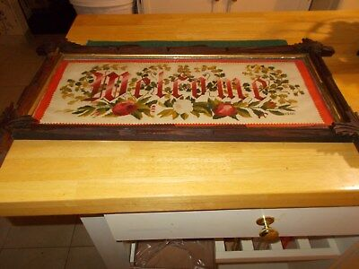 Late 1800S Victorian Era Cross Stitched Sampler On Paper Welcome With Cross Bar