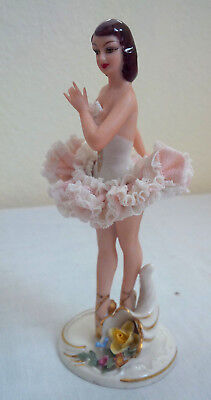 40's Germany US Zone Dresden White Dress Pink Lace Ballerina Figurine 5 1/2""