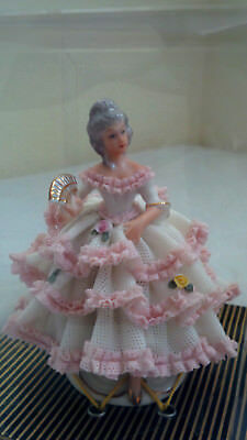 40's Germany US Zone Dresden Classic Victorian Pink Lace Dress Lady in Box