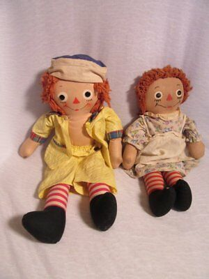 Vintage Raggedy Ann And Andy Dolls Johnny Gruelle Georgene Novelties