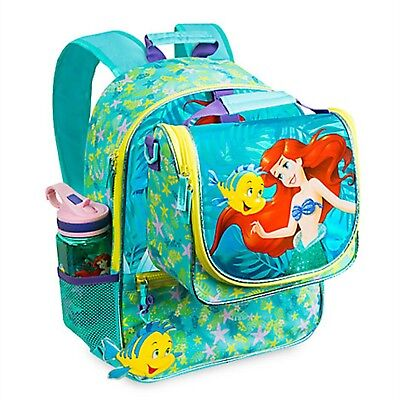 Disney Store Ariel Little Mermaid Backpack Lunch Tote Box School Book Bag NEW