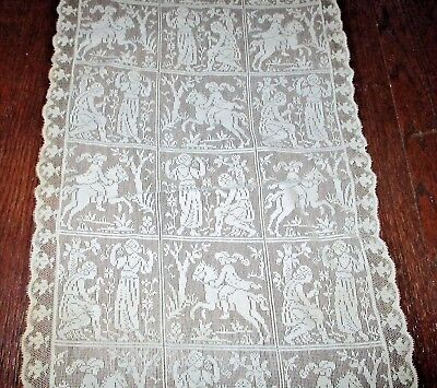 "Antique Filet Net Lace Runner Courting Scenes Knight Horse Rider Doily 30"" x 13"""