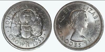 1953 Southern Rhodesia-Zimbabwe Crown .500 Fine Silver Almost Uncirculated