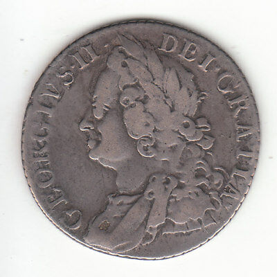 1758 Great Britain King George II Sterling Silver Shilling.