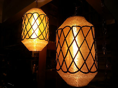 One Pair of Vintage Lucite Swag Lamps Incredible Retro Rare
