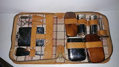Vintage Leather Case Grooming Kit 1940's 1950's