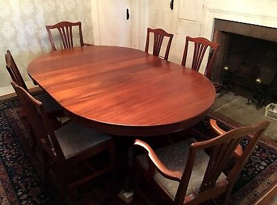 "Antique clawfoot mahogany dining table 54""to 108"". With six chairs"