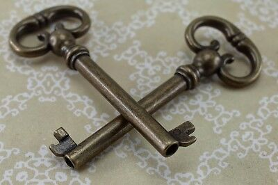 Vintage Style Open Barrel Skeleton Key Furniture Cabinet - Antique Bronze- 2 pcs