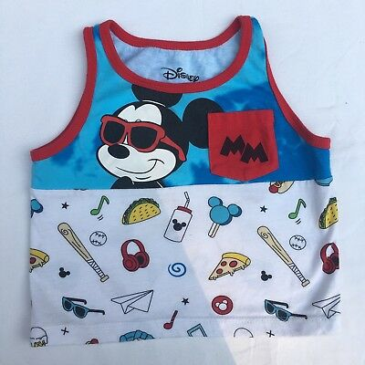 NWT Boys Disney 3T 4T 5T Mickey Mouse Swimming Striped Tank Top Sleeveless Blue