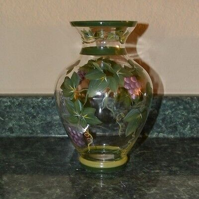 """GIBSON Beautiful Glass Vase """"Ivy Purple"""" Hand Painted"""