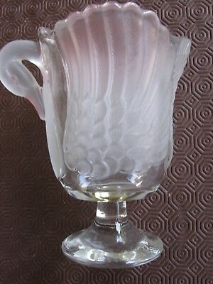 Vintage Swan Water Jug - Opaque And Clear Glass
