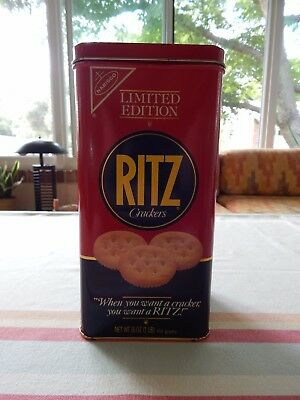 Vintage RITZ CRACKERS 16 oz TIN & LID 1987 LIMITED EDITION Nabisco
