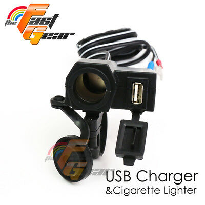 Fit iPod iPhone Cell phones Note GPS 2.1A 12V USB Power Port Fit Motorcycles