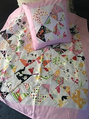 Hand Made Lap Quilt with matching Cushion Cover