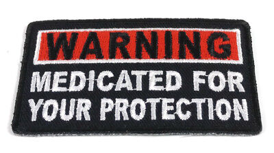 Biker Patch MEDICATED FOR YOUR PROTECTION Leather Vest Sew/Iron Motorcycle Patch
