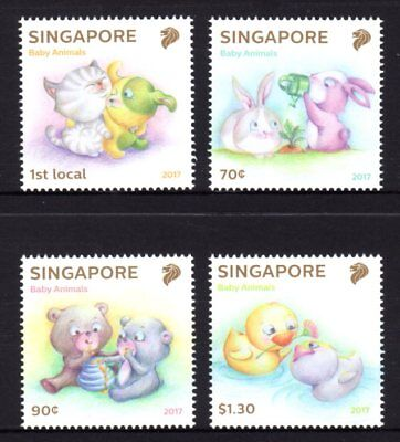 Singapore 2017 Baby Animals Set 4 MNH
