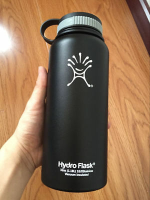 32oz Hydro Flask Insulated Stainless Steel Water Bottle, Wide Mouth black