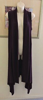 Gorgeous Deep Wine Stretchy Long Asymmetrical Vest By Inti Size L Exc Con