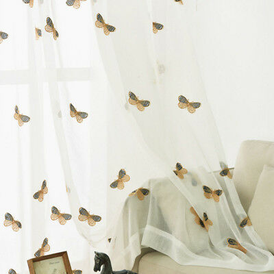 """Cotton Linen Sheer Curtain White Window Drape Buttefly Tulle Voile 84"""" 1 Piece"""