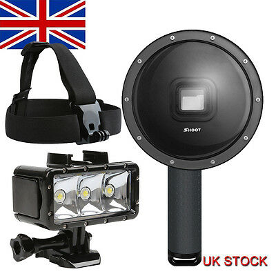 Diving 6'' Dome Port Lens+Waterproof LED Video Light+Head Strap f GoPro hero 5/6