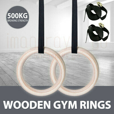 Wooden Gymnastic Olympic Rings Gym Fitness Training Exercise PRO Straps Strength
