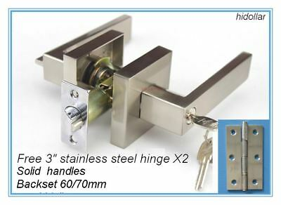 Square Solid 304 Stainless Steel Lever Handles Door Entrance Lock Set Free Hinge