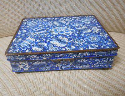 OLD Chinese Box w/Lid Enamel Copper Cobalt Blue Floral & Figures W/Grn VERY GOOD