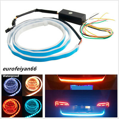 "47.6"" Waterproof 4-Colors LED Car Rear Trunk Flowing Light Strip Brake Tail Lamp"