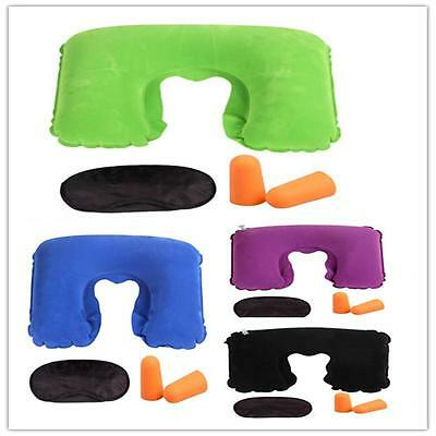 Inflatable Travel Pillow Air Cushion Neck Rest U-Shaped Ear Plug eyeshade Set S1