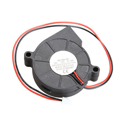 New Brushless DC Cooling Blower Fan 2 Wires 5015S 12V 0.14A 50x15mm Color Black