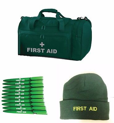 FIRST AID Green Holdall/Work Bag Woolly Hat Pens & Lanyard.