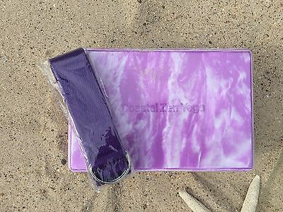 Purple marbled Yoga Block with Strap