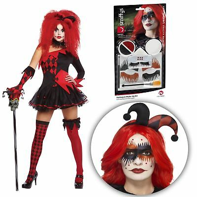 Ladies Sexy Evil Jesterina Clown + Harlequin Jester Makeup Kit Halloween Costume