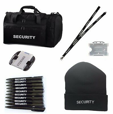 SECURITY Black Holdall/Work Set Hat, Pens & Lanyard ID Holder Ideal for SIA