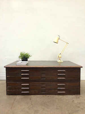 Vintage 1950s Oak Plan Chest / Map Drawers. A0 Size. Retro Industrial. Architect