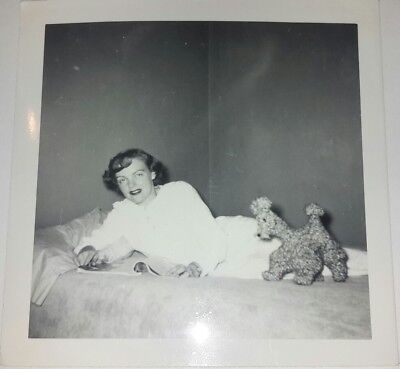 Vintage Old 1950's Photo Lonely Woman Girl in Bed with Stuffed Poodle Dog Leaman